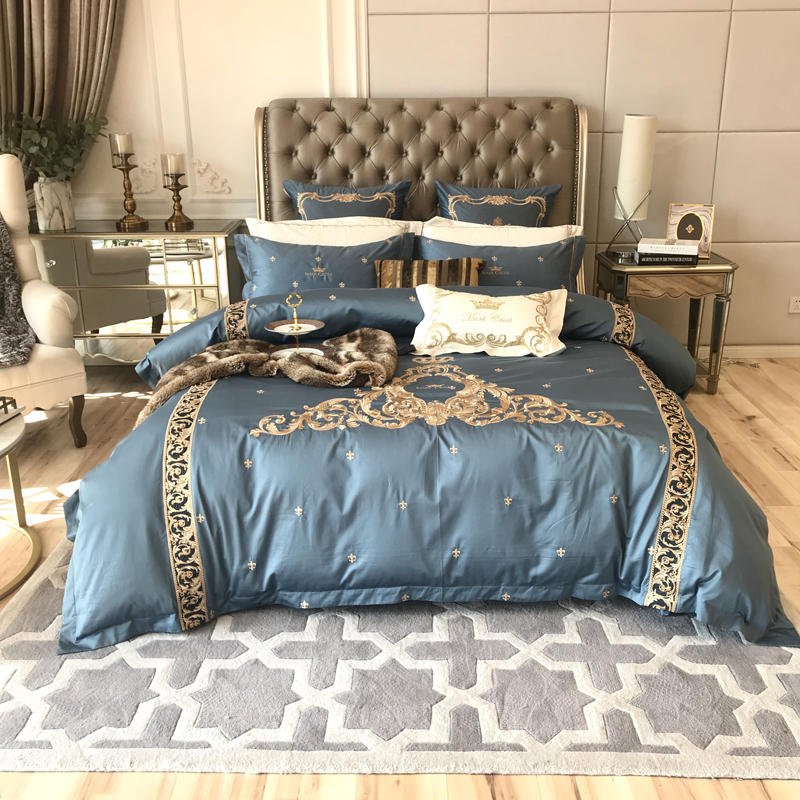 1000TC Egyptian Cotton Blue Luxury Royal Bedding set Queen King size Bed set Embroidery Duvet cover Bedheet set Bed cover 1000TC Egyptian Cotton Blue Luxury Royal Bedding set Queen King size Bed set Embroidery Duvet cover Bedheet set Bed cover