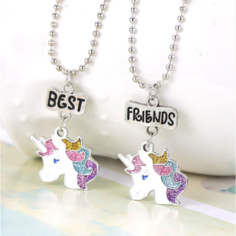 Unicorns BEST FRIENDS Necklaces Keychains BFF Friendship Cartoon animal jewelry gifts for Kids girls
