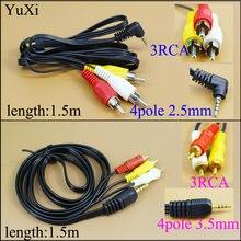 YuXi – adaptateur de prise mâle 3.5mm /2.5 à 3 RCA, convertisseur Audio, câble vidéo AV, cordon 4 pôles, haute qualité, 1.5M