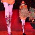 Calidad de la manera medias estampado de flores elegante femenina pantimedias niña medias de las mujeres