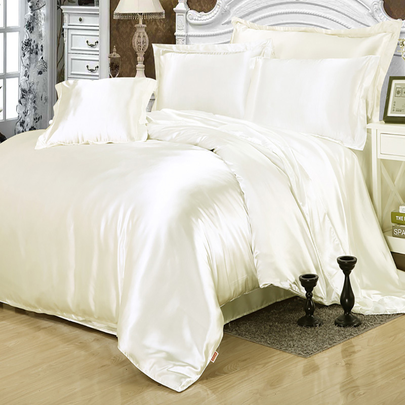 Plain Solid White Wedding Sweet Love Duvet Cover Set Silk