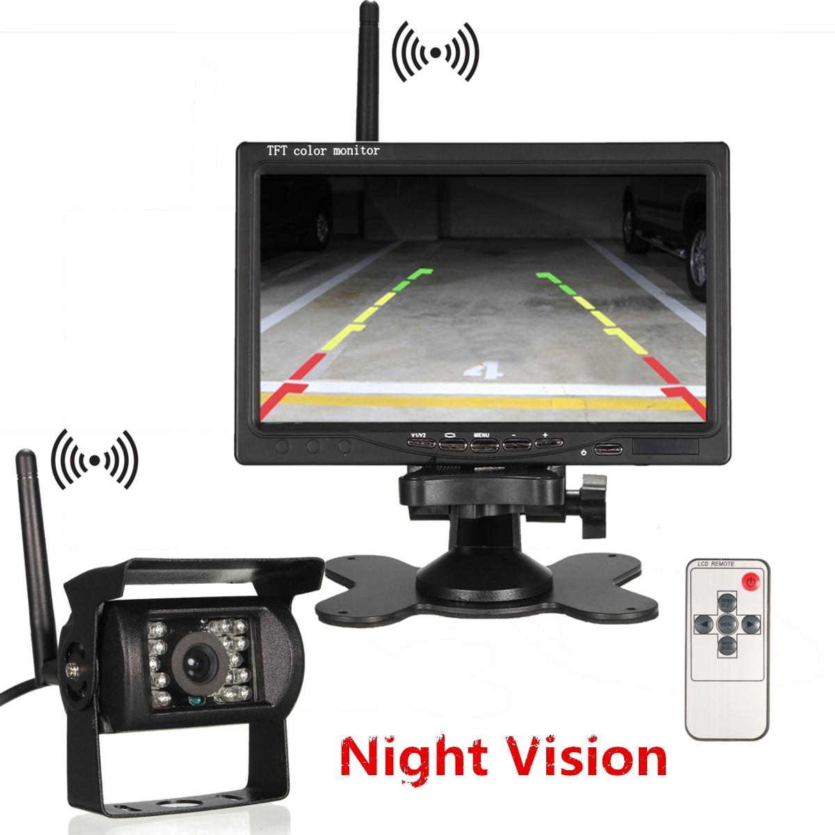 "7 ""bezprzewodowa tylna kamera samochodowa HD Truck Camera System parkowania 7"" Monitor TFT LCD do autobusu RV Van rewers Backup Night Vision"