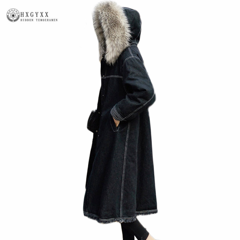 2018 Denim Outerwear Big Fur Collar Long Winter Jacket Female Wadded Coat Loose Plus Size Warm Lamb Wool Military Parka Okb439