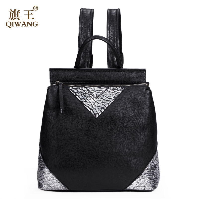 QIWANG Inverted Triangle Genuine Leather Back Pack Woman Patch Bag Luxury Backpack Purse Ladies Brand Mochila Feminism bird patch purse