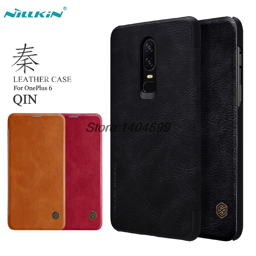 OnePlus 6 Flip Case OnePlus 6 Cover Nillkin Qin Series PU Leather Cover Case For OnePlus 6 With Sleep Wake Up Card Bag