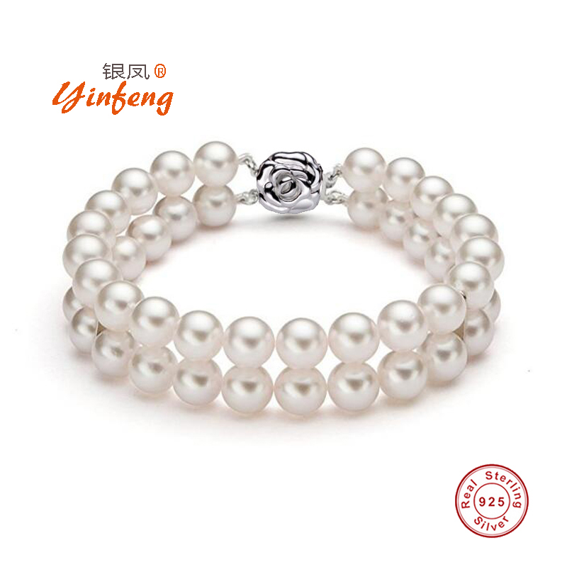 [MeiBaPJ]925 Sterling Silver Top quality 6-7mm natural freshwater pearl bracelet for women fashion charm double deck bracelet sweet rhinestone and faux pearl embellished floral double layered bracelet for women