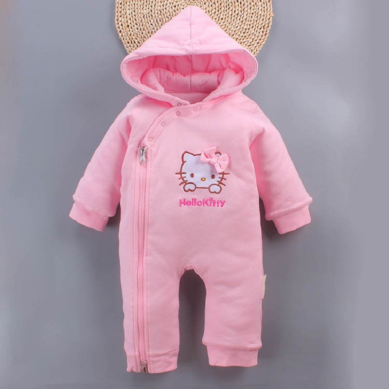 Winter Newborn Baby Clothes Kids Girls Cute Kitty Cat Infant Cotton Thicken Warm Hooded Jumpsuit Bebe Girls Romper 0 12M