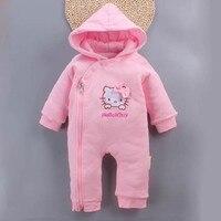 Winter Newborn Baby Clothes Kids Girls Cute Kitty Cat Infant Cotton Thicken Warm Hooded Jumpsuit Bebe Girls Romper 0 12M