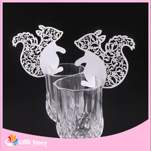 25pcs Laser Cut Paper Lovely Squirrel Wine Glass Card Name Place Escort Cards Table Decoration Birthday
