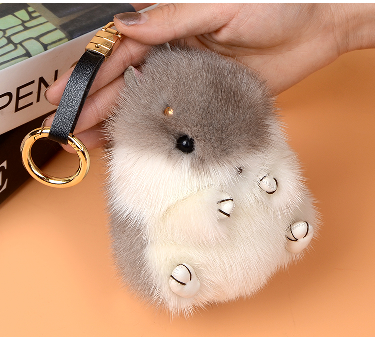 Cute Genuine Real Mink Fur Plush Fluffy Furry Mouse Keychain Pompom Animal Key Chain Women Bag Charm Bag Accessories Pendant