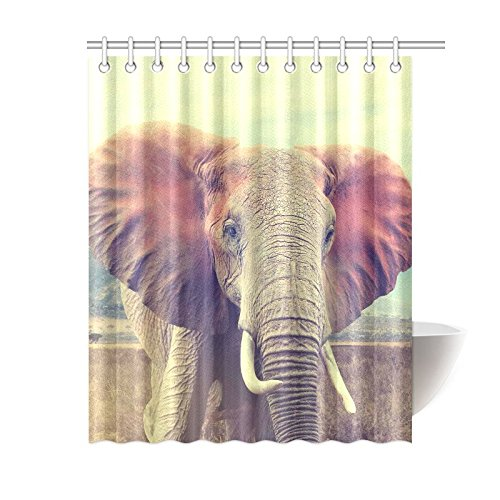 African Hippie Elephant Home Decor,Christams Gift Funny African Tropical Animal Polyester Fabric Shower Curtain Bathroom Sets