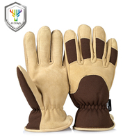 OZERO Work Gloves With Deerskin Suede Leather Shell And Thermal Fleece Lining Inserted Warm In Cold