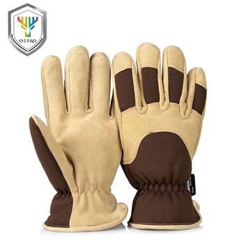 OZERO rękawice robocze z Deerskin zamszowa skórzana skorupa i termiczne podszycie polarowe włożona ciepła w zimna pogoda praca dla mężczyzn 8015 tanie i dobre opinie Skórzane CN (pochodzenie) RĘKAWICE ROBOCZE M L XL Brown Men s Gloves Working Gloves Warm Gloves