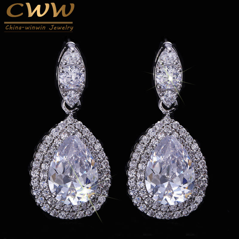 CWWZircons Brand High Quality AAA+ Cubic Zirconia Crystal Large Drop Earrings For Women Fashion Wedding Party Jewelry  CZ071