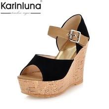 db41642006d Karinluna 2018 diseño de marca Peep Toe zapatos de sandalias de verano  zapatos de mujer cuñas tacones altos plataforma sandalias.