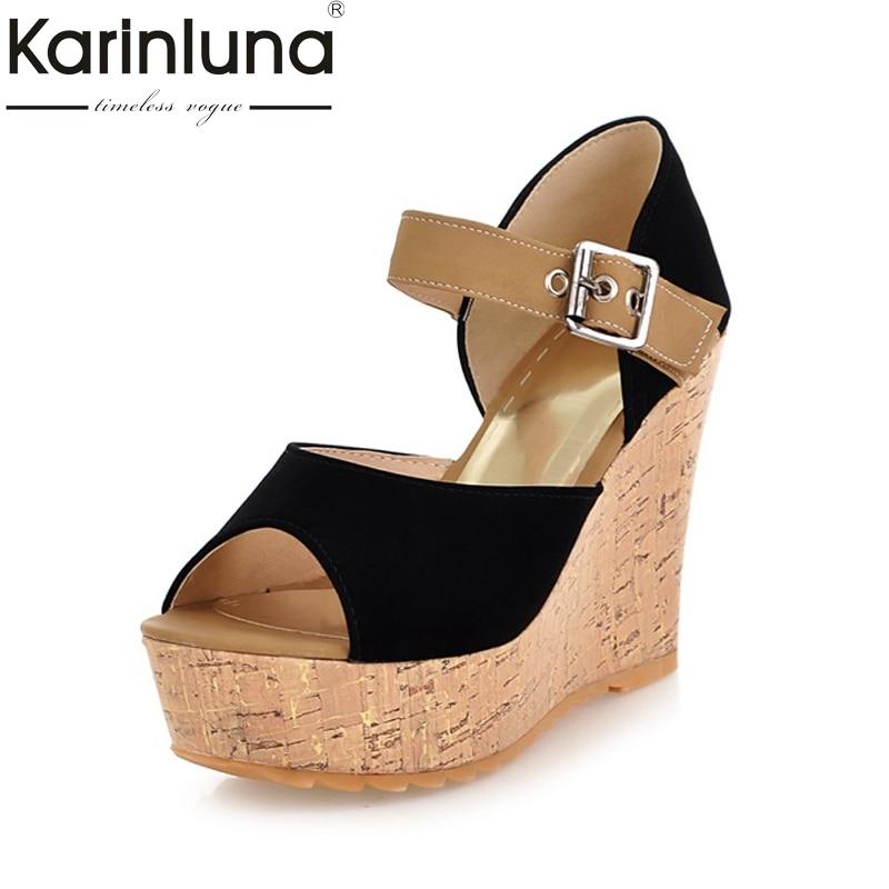 Karinluna 2018 Brand Design Peep Toe Sandal Shoes Summer Woman Shoes Wedges High Heels Platform Party Sandals