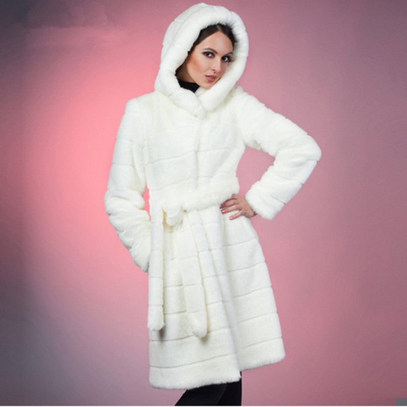 2016 S 5XL Winter Warm Artificial Decent Faux Mink Fur Coat with Hood Luxury Fake Fur