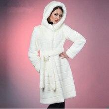 2016 S 5XL Winter Warm Artificial Decent Faux Mink Fur Coat with Hood Luxury Fake Fur