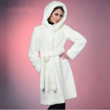 2016 S-5XL Winter Warm  Artificial Decent Faux Mink Fur Coat with Hood Luxury Fake Fur Coats Plus Size Women Cloth 6XL 5XL