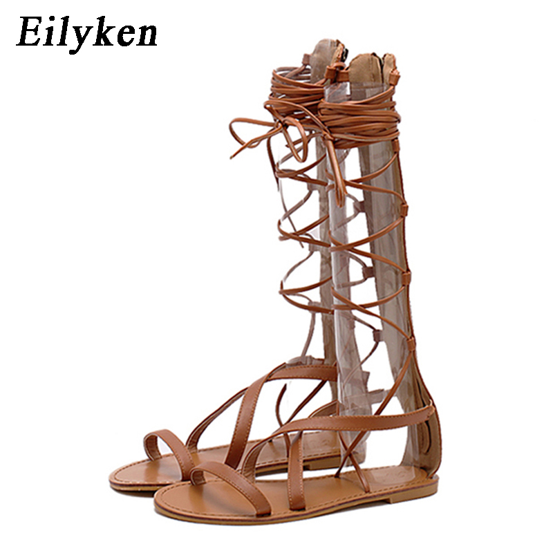 Eilyken Summer Women Sandals Strappy Open Toe Knee High Gladiator Sandals Boots Flat Casual Lace-Up Sandals Bandage shoes size41