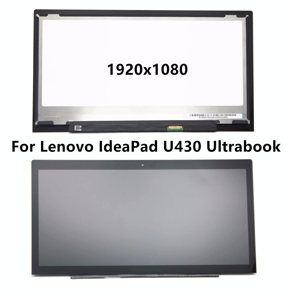 New 14 For Lenovo IdeaPad U430 Ultrabook Full LCD Display Outer Front Glass Screen Assembly Replacement B140HTN01.2 Non Touch 6 lcd display screen for onyx boox albatros lcd display screen e book ebook reader replacement