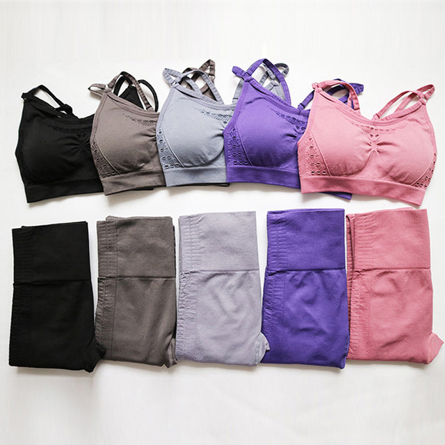 Women's Solid Color Yoga Bra and Leggings  8 Colors  S-L