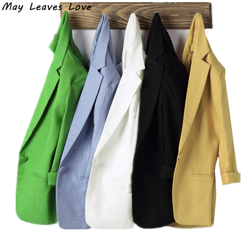 May Leaves Love 2017 Spring Summer Muti-color Three Quarter Sleeve Thin Style Women Blazers 7 Colors Plus Size LR0074 ...