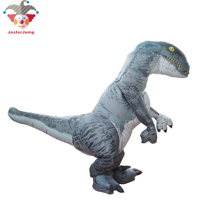 Jurassic World Adult Velociraptor Costume Cosplay Fantasy Inflatable T REX Raptor Dinosaur Party Halloween Costume for Women Men (6)