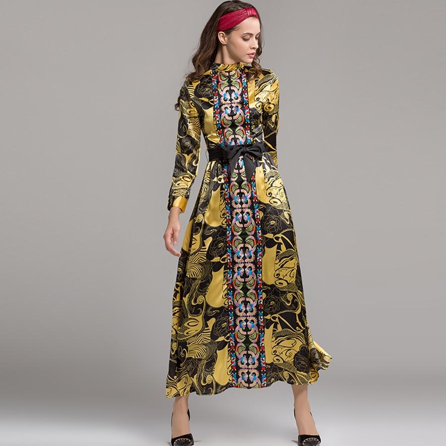 e3c445b70aa A Avec Automne Vintage As Femmes Patchwork 2019 Nouveau longueur Mode  Empire Robe Robes Cheville Photo ...