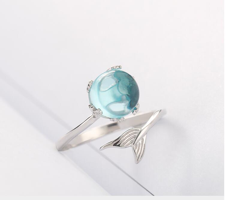 925 Sterling Silver Blue Crystal Mermaid Bubble Open Rings For Women Wedding Birthday Creative Fashion Jewelry jz137 3