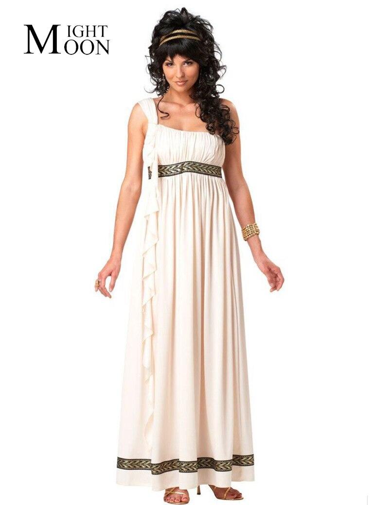 MOONIGHT Cosplay Ancient Greece Costume Goddess Athena Clothing Women White Dress Halloween Costume