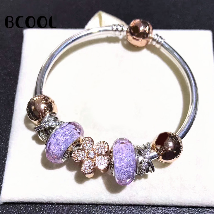 BCOOL 100% 925 Sterling Silver 1:1 Original Copy 2019 Womens Bracelet Blue Crystal Beads Charm Jewelry Silver Free PackageBCOOL 100% 925 Sterling Silver 1:1 Original Copy 2019 Womens Bracelet Blue Crystal Beads Charm Jewelry Silver Free Package