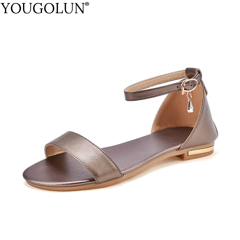7674d8458 YOUGOLUN Women Flat Sandals Summer New Woman Genuine Leather Casual Ladies Crystal  Gold Black White Ankle Strap Shoes  A-114