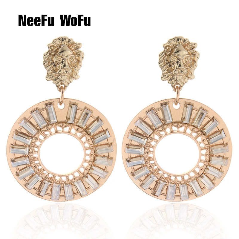 NeeFu WoFu Lion Head Earrings Glass Earrings For Woman Charm Dangle Brinco Christmas Ear Accessories Oorbellen