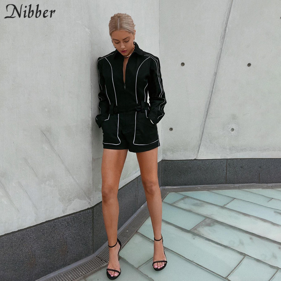 Nibber 2019 Autumn Reflective Strip Playsuits Womens Party Shining Bodycon Active Jumpsuits Mujer Black Basic Casual Playsuits