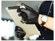 male genuine goat leather warm winter driver glove
