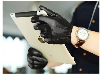 man fashional sheep skin leather driving gloves male genuine goat warm winter driver glove