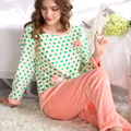 Han edition flannel long sleeve pajamas women can wear outside loose big yards leisurewear suit