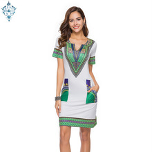 Ameision S-3XL Women Summer Bodycon Dress 2019 Robe Sexy Casual Sundress Plus Size Vintage African Print Dashiki Dresses