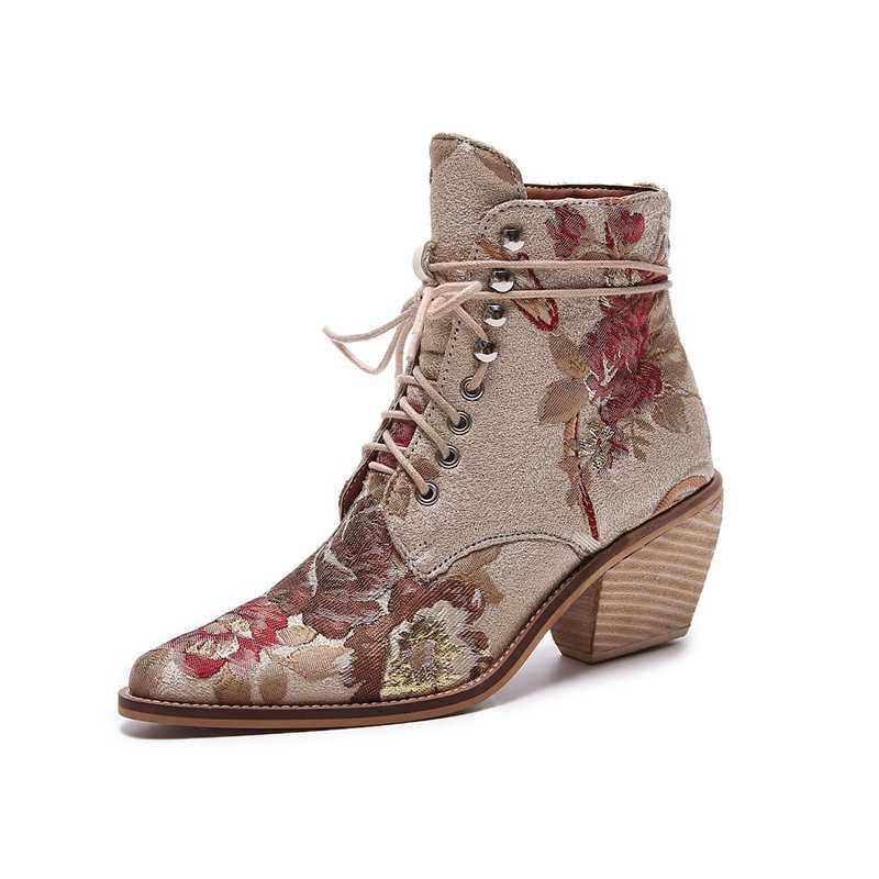 2019 Новый Для женщин Роскошные шёлковые сапоги полусапожки «Martin» Новый осень-зима вышивать женские мотоботы на шнуровке женская обувь