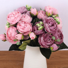 Silk Bouquet Peony Artificial-Flowers Bride Rose Pink Home-Decoration Wedding Small 5-Big-Heads