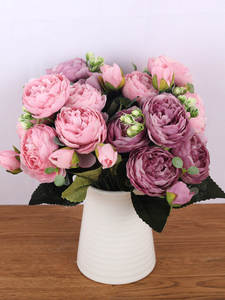Rose Pink Bouquet Peony Artificial-Flowers Bride Silk Faux Home-Decoration Wedding Small