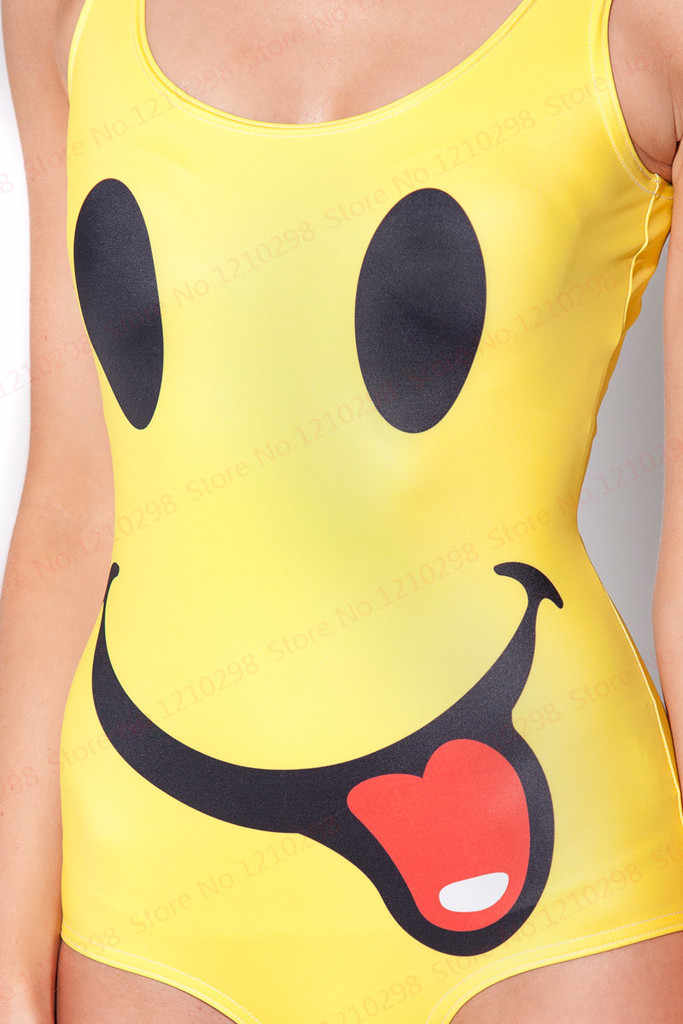 6f50ee29218ef ... Sexy Women's Smile Face Swimsuits Cover Ups Girls Bodysuit One Piece  Swimsuit Kawaii Smile Funny Smile ...