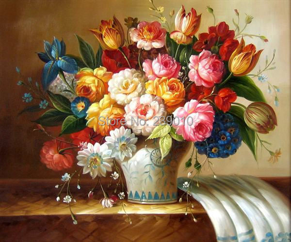 Floral Oil Painting With Blue Vase