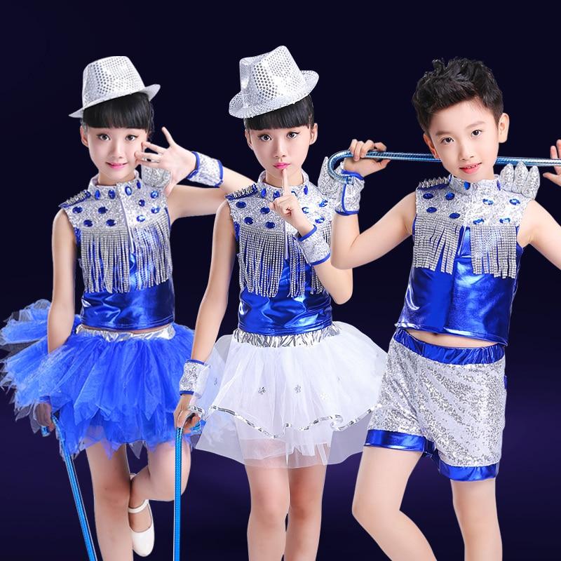 Children Jazz Dance Costume For Stage Boy Girl Hip Hop Dance Clothing Kids Street Dance Dj Ds Dance Dresses Stage Wear 90 Aliexpress