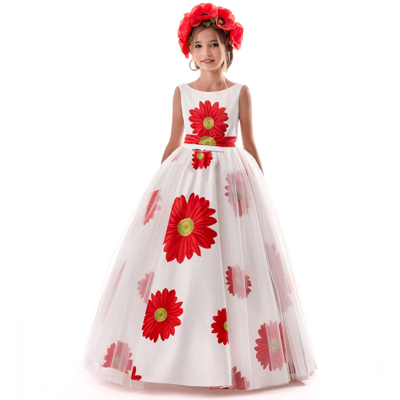 Flower Children Princess Dress Girl Long Events Party Kids Dresses for Girls Teens Rustic Flower Wedding Gown Size 8 12 14 Years flower girls blue wedding dresses for little girls dress evening party dresses summer teens big girl wedding dress 3 12 years