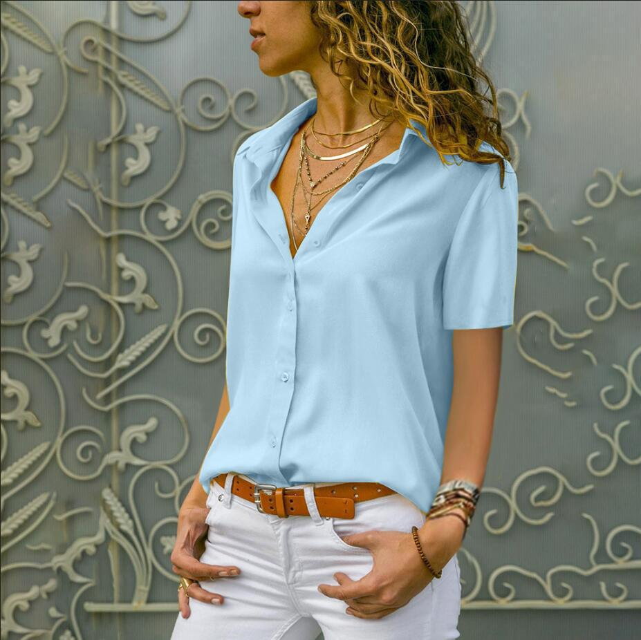 Summer Elegant Short Sleeve Women Tops   Blouses   Solid V-Neck Chiffon   Blouse   White Mujer Work Slim   Shirt   Plus Size 5XL Lapel Blusa