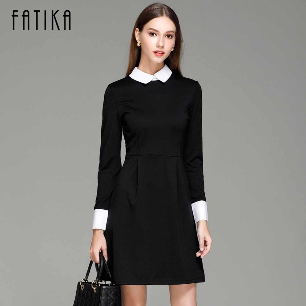 0b7d552e Detail Feedback Questions about FATIKA Fashion Autumn Winter Women's  Elegant Casual Dress Slim Peter pan Collar Collar Long Sleeve Black Dresses  for Women ...