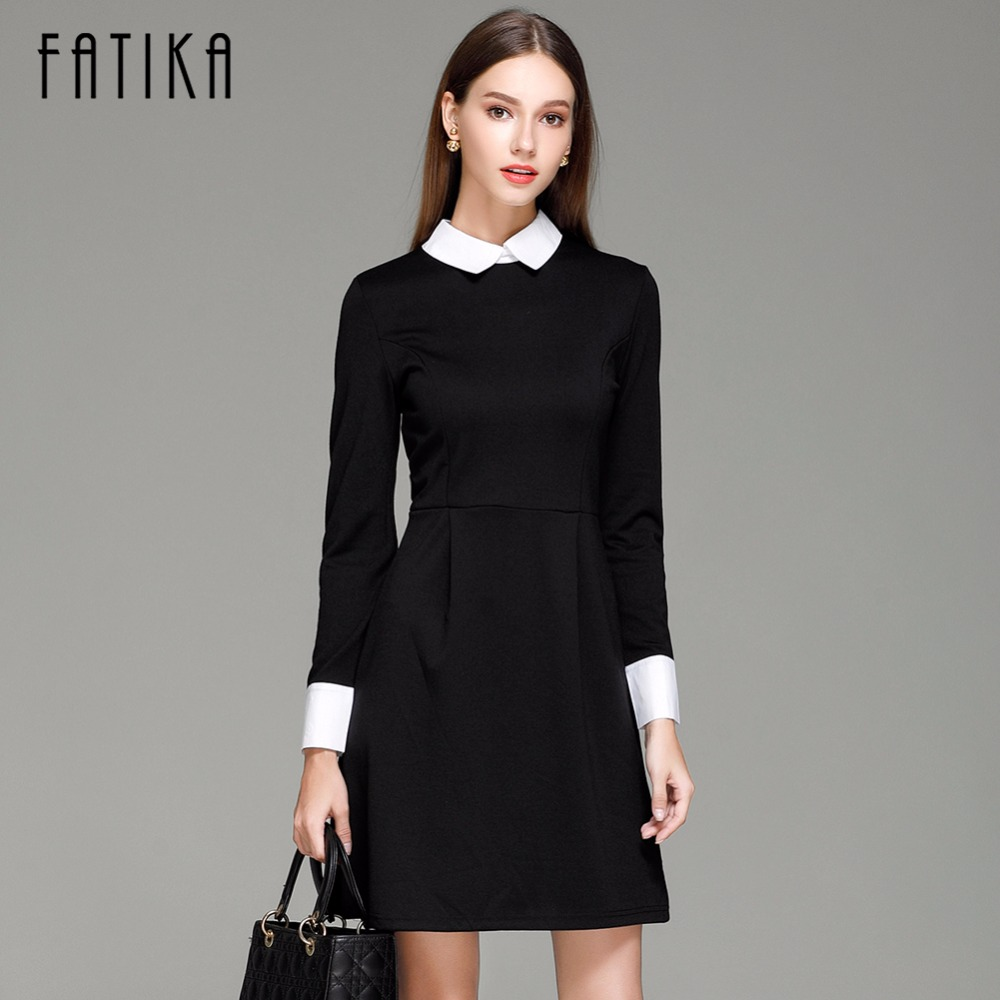 9b34434b0e7 FATIKA Fashion Autumn Winter Women s Elegant Casual Dress Slim Peter pan Collar  Collar Long Sleeve Black