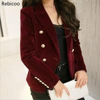 M 2XL plus size autumn female Korean Slim was thin velvet leisure suit solid color double breasted jacket